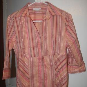 3/4 Sleeve Orange Stripe Button Blouse